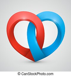Vector heart in the form of tape
