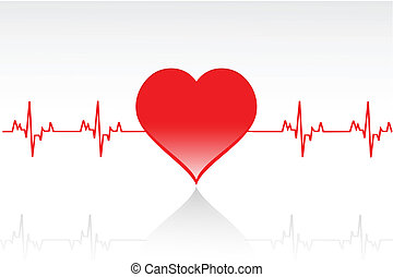 illustration of vector heart with life line running across