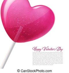 Vector heart lollipop candy 3d valentine day sweet