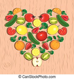 Vector heart made of fruits and vegetables.