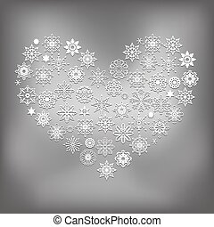 Vector Heart Made of Snowflakes