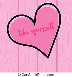 Vector . Heart on a pink wooden background