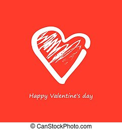 Vector. Heart on a red background on Valentines Day.