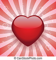 vector heart on retro background