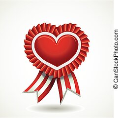 Vector heart red label with ribbons