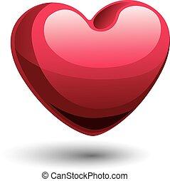 Vector heart - Red shiny heart. Eps8. CMYK. Global colors. ...