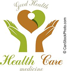Vector heart shape composed with green leaves and caring...