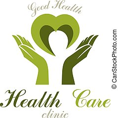 Vector heart shape composed with green leaves and caring hands. Medical rehabilitation abstract logo for use in charitable organizations.