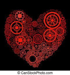 heart shape consist of gears - vector heart shape consist of...