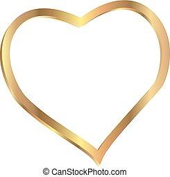 Vector Heart shape frame gold isolated on white background Vector illustration.