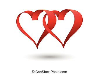 Vector Heart shape frame isolated on white background