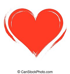 Vector Heart shape frame with brush painting isolated on white background