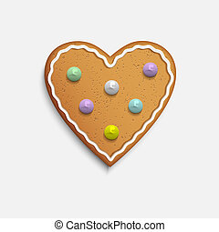 Vector Heart shaped cookie on white background