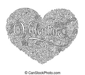 Vector Heart Shaped Pattern For Coloring Book Design In Doodle Style With Floral Elements