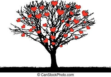 vector heart tree