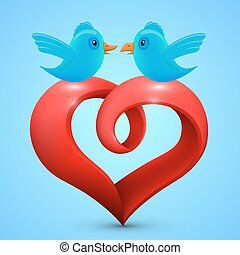 Vector heart with birds