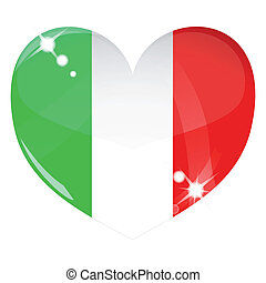 Vector heart with Italy flag texture