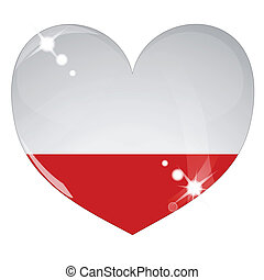 Vector heart with Poland flag texture isolated on a white background. Flag easy to replace