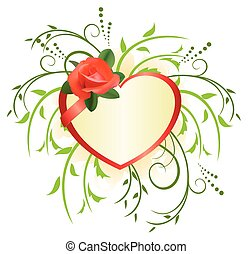 vector heart with rose and green plants