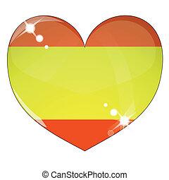 Vector heart with Spain flag texture