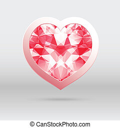 vector heart with triangular diamond mosaic, abstract design for Valentines day.