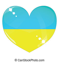 Vector heart with Ukraine flag texture