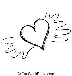 Vector heart with wings icon brush chalk strokes