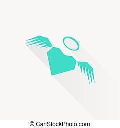 Vector heart with wings icon