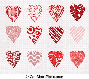 vector hearts set