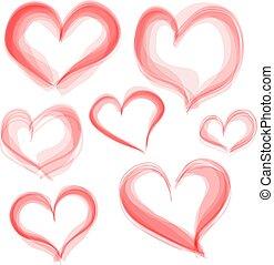 Vector hearts set. Hand drawn. Valentine day