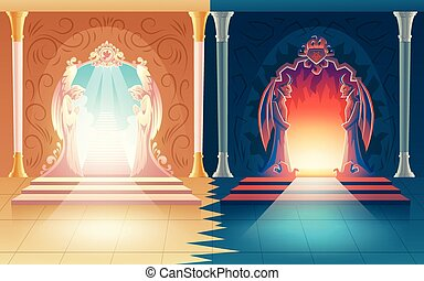 Vector heaven and hell gates. Afterlife entrance - Vector ...
