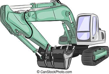 vector heavy excavator - heavy tracked green excavator with...