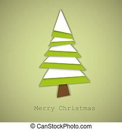 vector, hecho, simple, árbol, papel, verde blanco, navidad