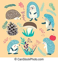 Cute Hedgehog forest animals set