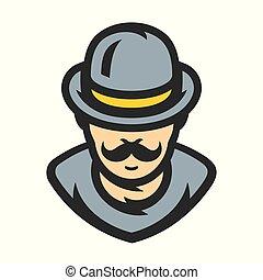 vector, heer, spotprent, illustration.