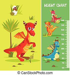 Vector height chart, wall meter baby dinosaurs