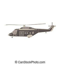 Vector helicopter flat icon illustration. Isolated transport design, aviation, aircraft, air propeller, fly. Vehicle travel copter plane sky chopper military silhouette tourism commercial airline trip