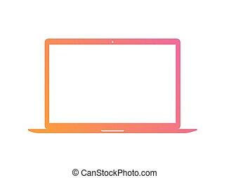 vector, helling, roze, om te, sinaasappel, plat, laptop computer, pictogram