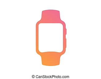 vector, helling, roze, om te, sinaasappel, plat, smart, horloge, pictogram
