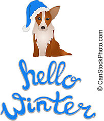 Vector Hello Winter Illustration with Symbol of the 2019 Year: Dog, Isolated on White Background.