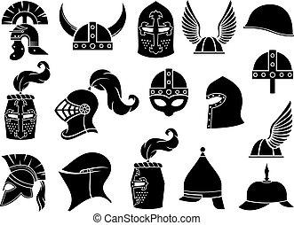 vector, helmen, norman, set, (ancient, middeleeuws, iconen, spartan, romein, griekse , knight), strijder, gallisch, viking, militair, of