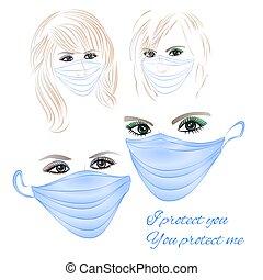 vector, hembras, tres, ojos, conjunto, verde azul