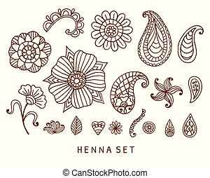 Vector henna tattoo doodles set
