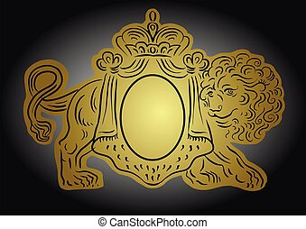 Vector heraldic illustration with crown and lion