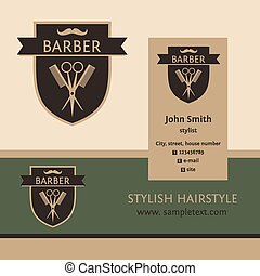 Vector heraldic logo for a hairdressing salon. Business card and banner. Template for corporate style barbershop. Status and elegance
