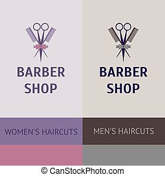 Vector heraldic logo for a hairdressing salon. Business card and banner. Template for corporate style barbershop. Status and elegance. barbershop for men and women