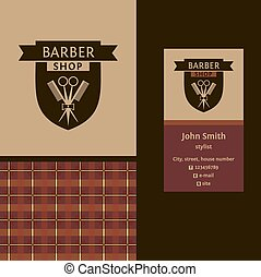 Vector heraldic logo for a hairdressing salon. Business card. Template for corporate style barbershop. Status and elegance