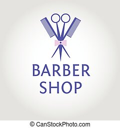 Vector heraldic logo for a hairdressing salon. Template logotype