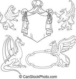 Vector heraldic monsters