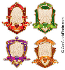 Vector heraldic shields with banners